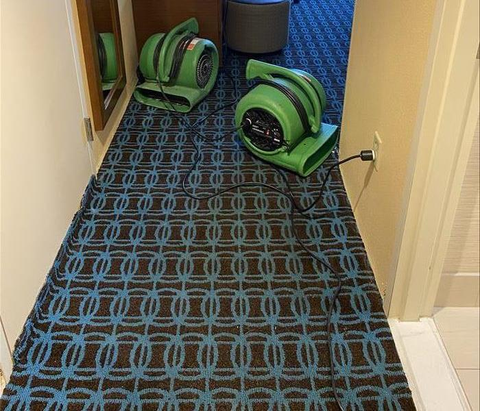servpro fans in hotel bedroom