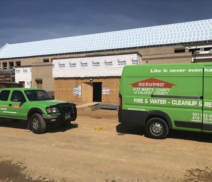 SERVPRO vehicles outside building