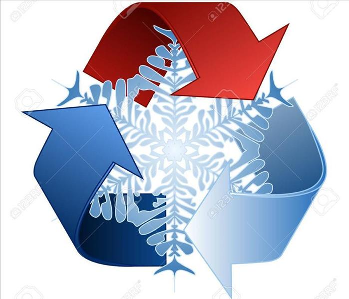 Save heat energy saving and recycle symbol with snowflake in the middle