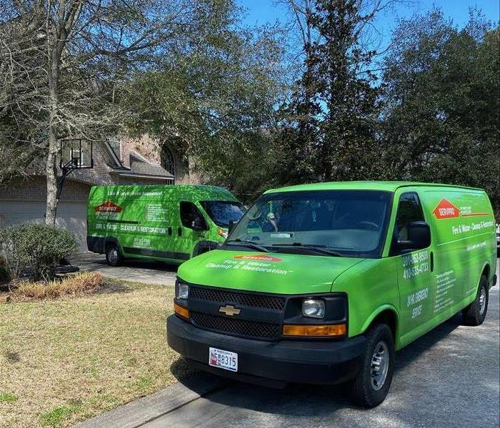 servpro vans outside home